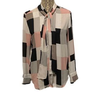Ann Taylor Button Up Blouse Pink & Black Small